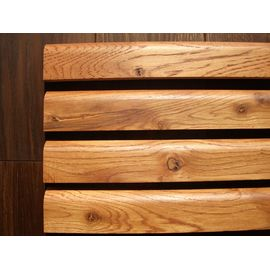 Solid Oak skirtings, profile with radius, Rustic grade, 20 mm thickness, oiled in color Cherry