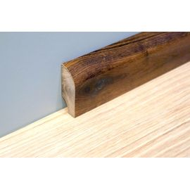 Solidwood skirting, Smoked Oak, profil with radius, thickness 20 mm, Rustic grade, natural oiled