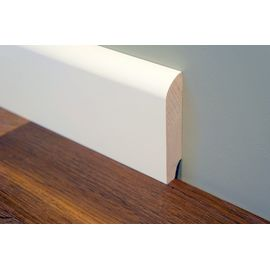 Solid wood skirting, Ash, profile with radius, thickness 20 mm, Prime-Nature grade, white lacquered