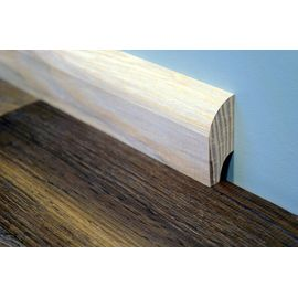 Solid Ash skirting boards, 20x50 mm, profile with radius, Prime-Nature grade, unfinished