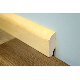 Solid wood skirting, Nordic Birch, 20x50 mm, profile with radius, Prime grade, natural oiled